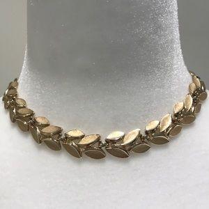 Trifari Gold Tone Leaf Necklace